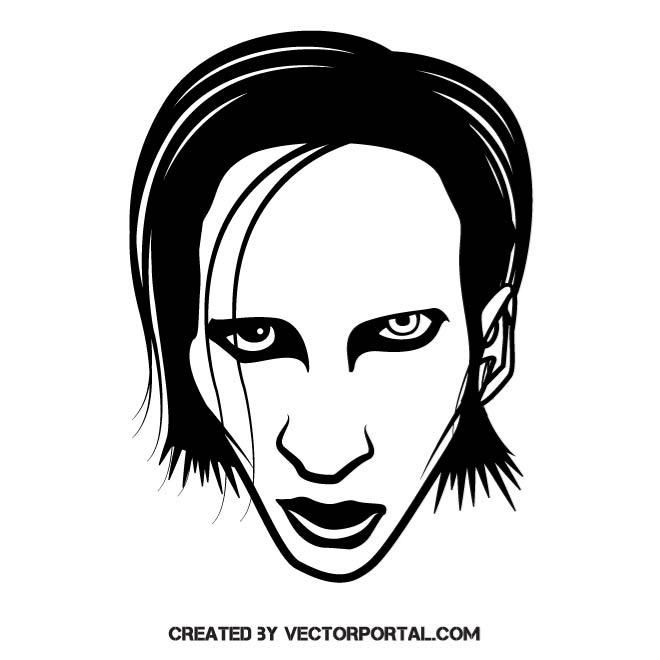 Marilyn Manson vector illustration. | Celebrity Vector Illustrations ...