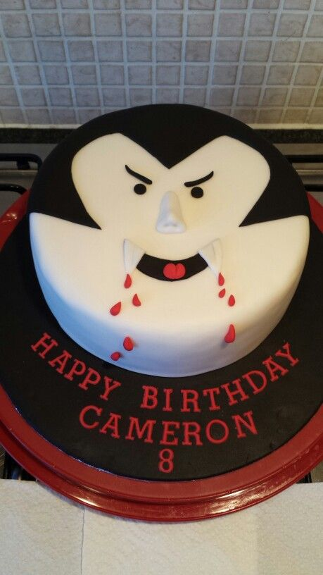 Peachy Dracula Vampire Birthday Cake Halloween Cakes Halloween Theme Funny Birthday Cards Online Overcheapnameinfo