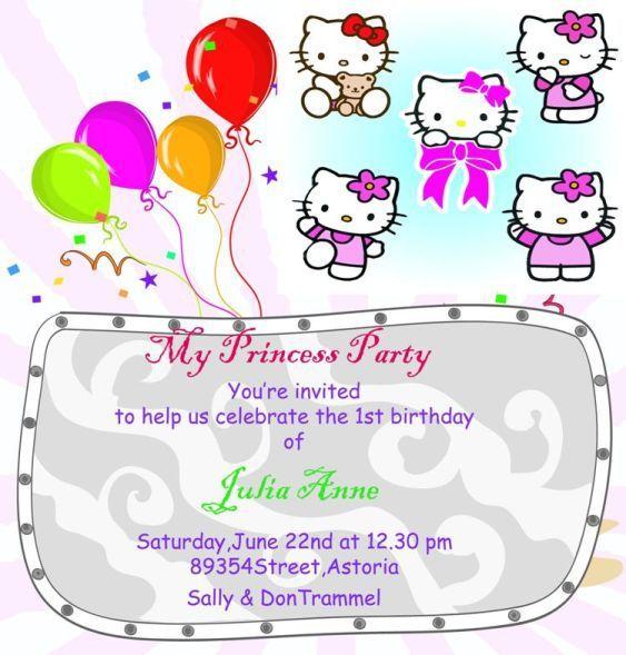 hello kitty 1st birthday invitation template invitation templates word hello kitty birthday invitations party