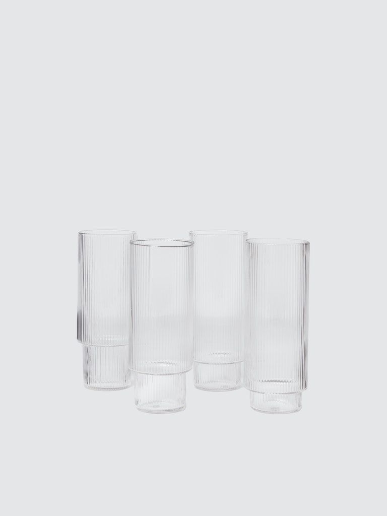 Ferm Living Ripple Long Drink Glasses Set Of 4 In 2020 Glasses Drinking Long Drink Drink Glasses Set