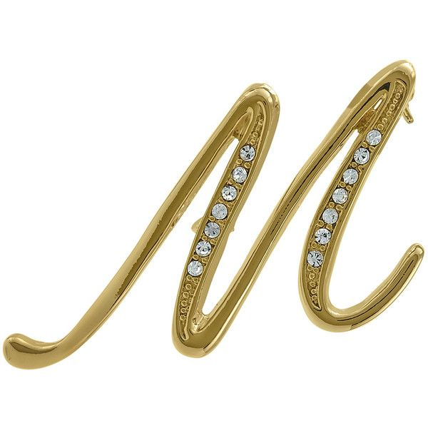 BERRICLE Gold-Tone Rhinestone Initial Letter 'M' Fashion Brooch Pin ($15) ❤ liked on Polyvore featuring jewelry, brooches, brooch, women's accessories, letter jewelry, rhinestone pins brooches, initial jewelry, gold colored jewelry and gold tone jewelry