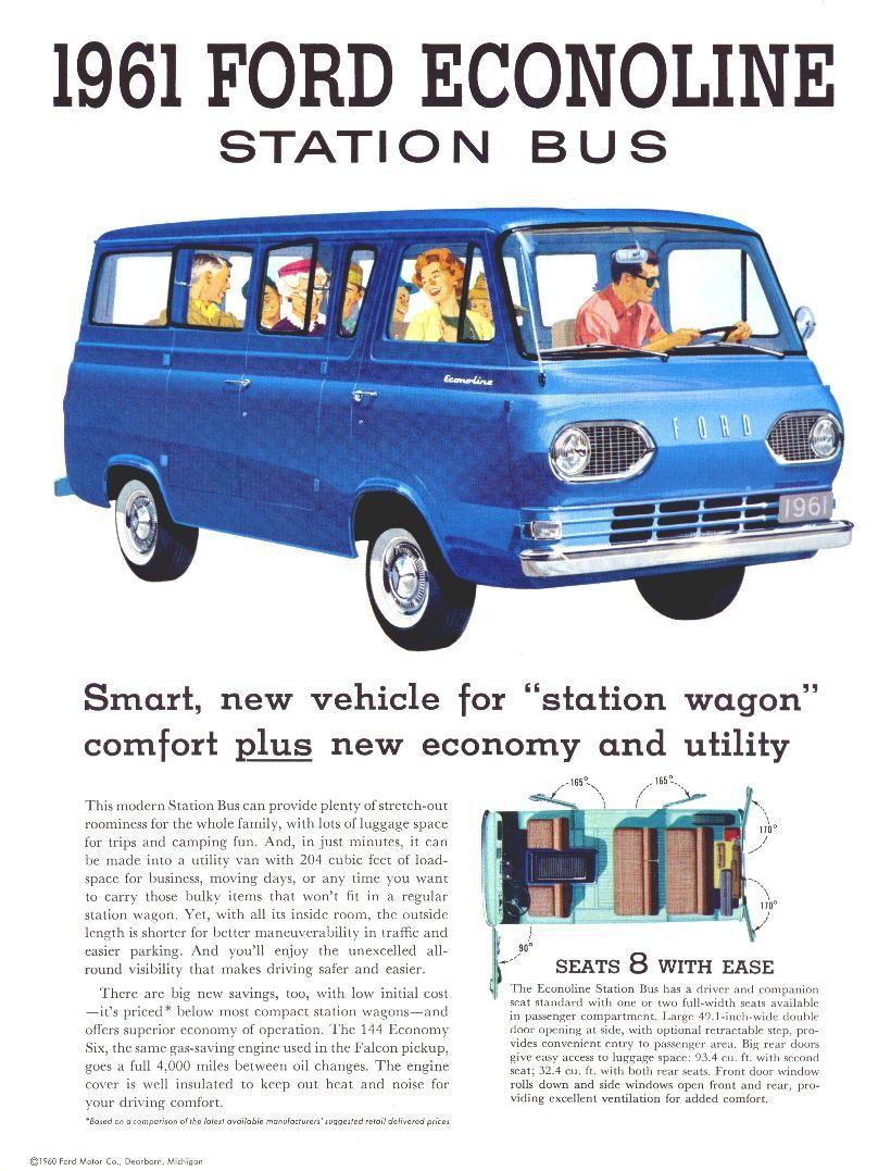 1961 Ford Econoline Station Bus Brochure 01 Vintage Trucks Mini