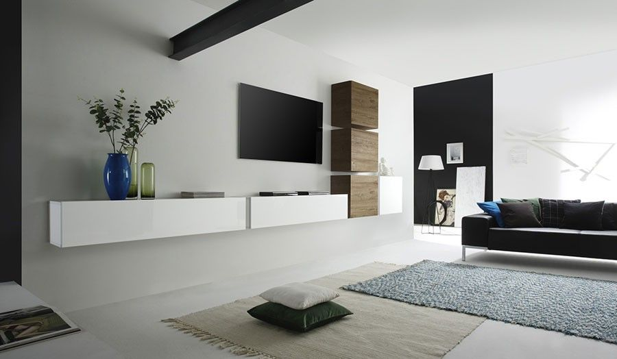 Ensemble tv mural contemporain loudeac 2 coloris blanc brillant et miel ens - Ensemble meuble tv blanc ...
