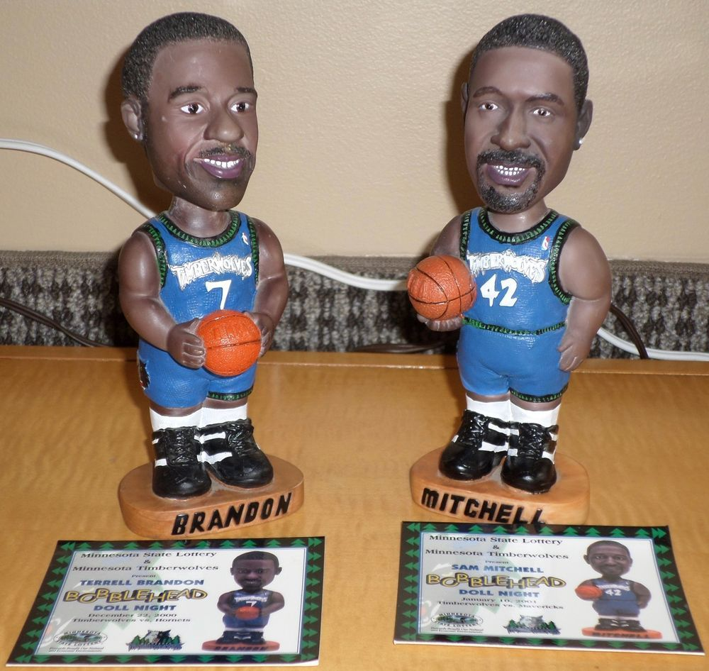 2000 01 MN Timberwolves Terrell Brandon & Sam Mitchell Bobble Head