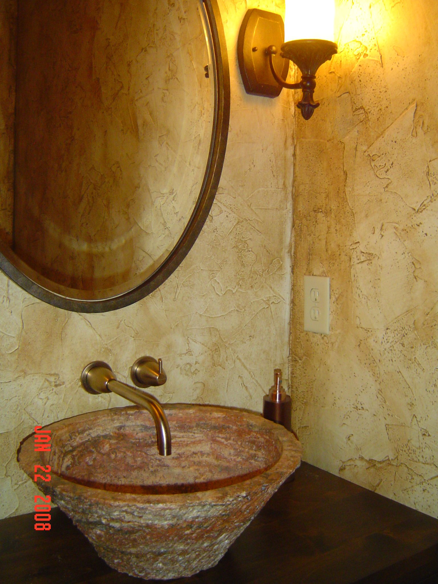 Powder Room With Textured Faux Painted Walls Custom Iron Sink Base Vessel