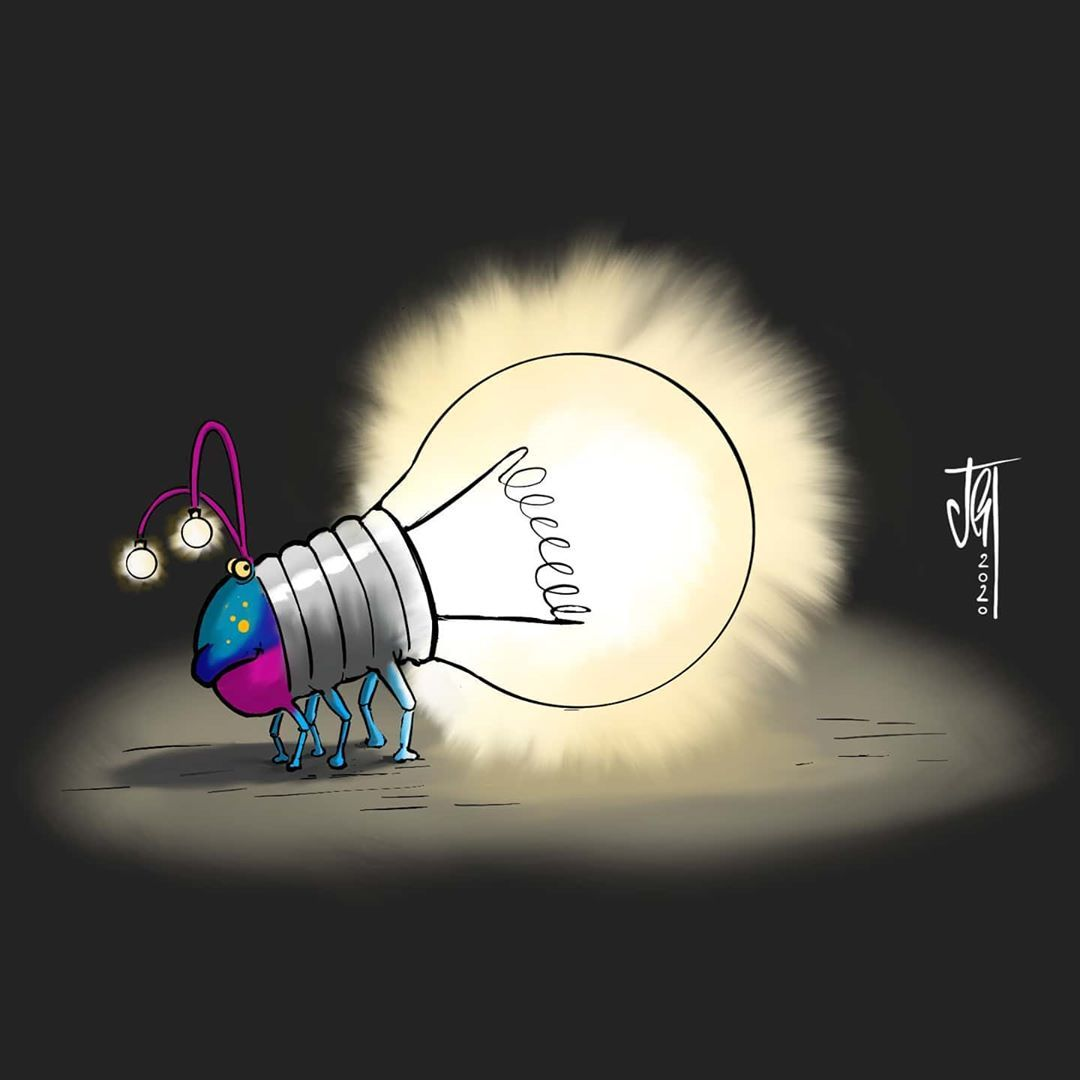 A glow worm thing... kind of.. Have a nice day! 👋 .  #ipadpro with #autodesksketchbook . . .  #illustration #glowworm #lightbulb #artwork #cartoon #comic #illustrations #characterdesign  #draw #drawing #sketchbook #digitalart #artwork #sketch #cute #cuteanimals #insects #hannover #light #glow #bug  #darkness #glühwürmchen