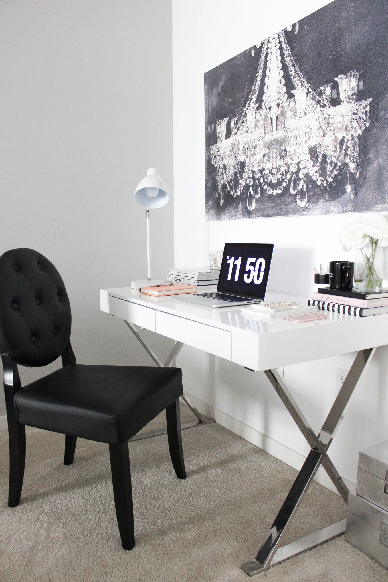 office space decor. Blondie In The City | Office Space Decor, Desk Black And White Decor