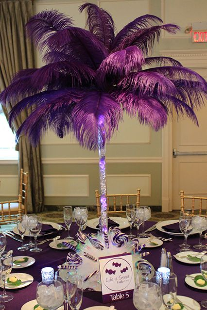 Purple Feather Centerpiece With Candy Themed Base In 2019