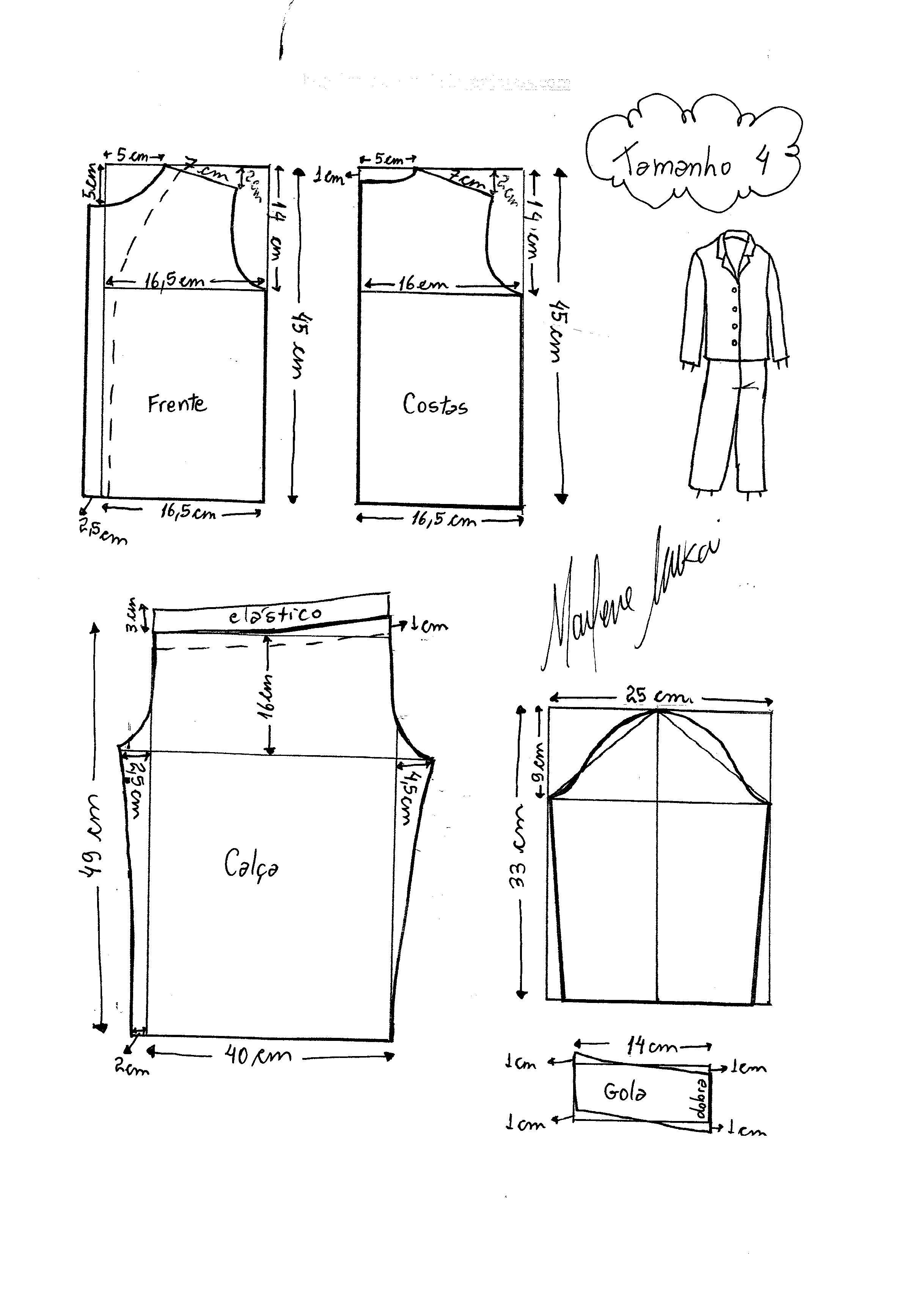 Molde de Pijama tamanho 4. | sofi | Robe patron, Patron couture y ...
