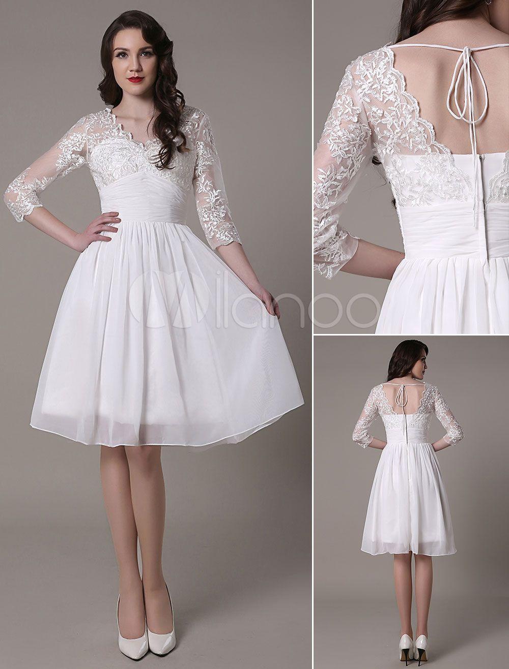 Knee-Length Wedding Dress V-Neck Lace A-Line Chiffon Pleated Bridal Dress