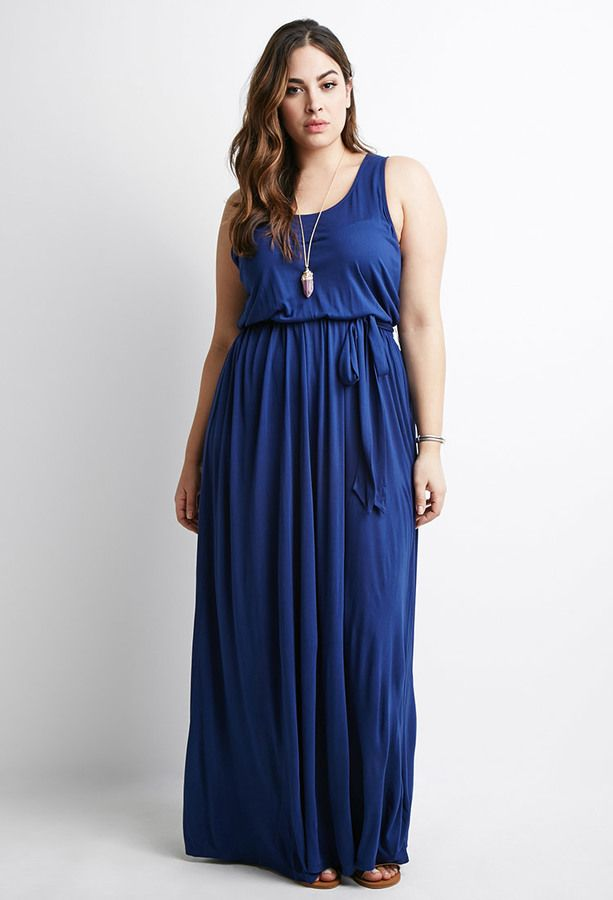 Plus Size Self-Tie Maxi Dress | Plus Size Fashion | Plus size maxi ...