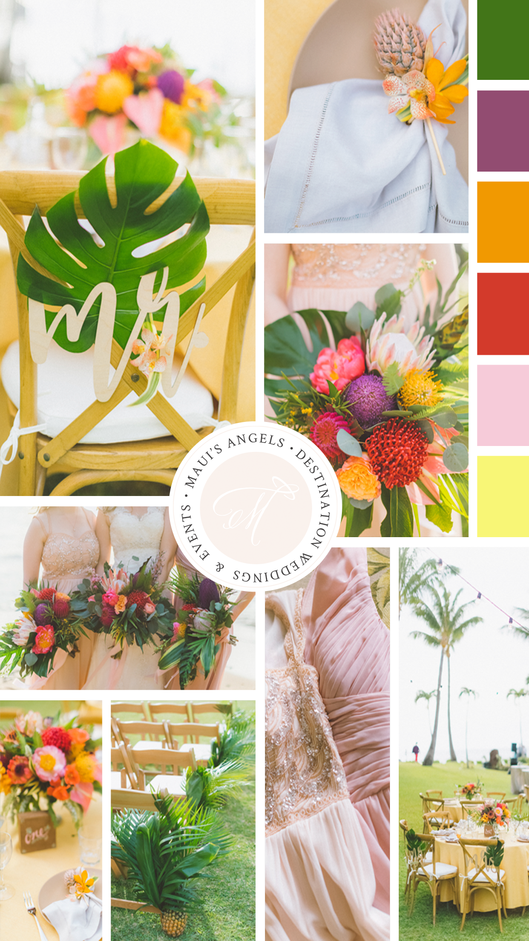 Tropical wedding color palette inspiration | Destination