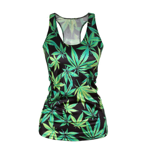 Pop Culture Printed Camisole Tank Top - Leafy Greens
