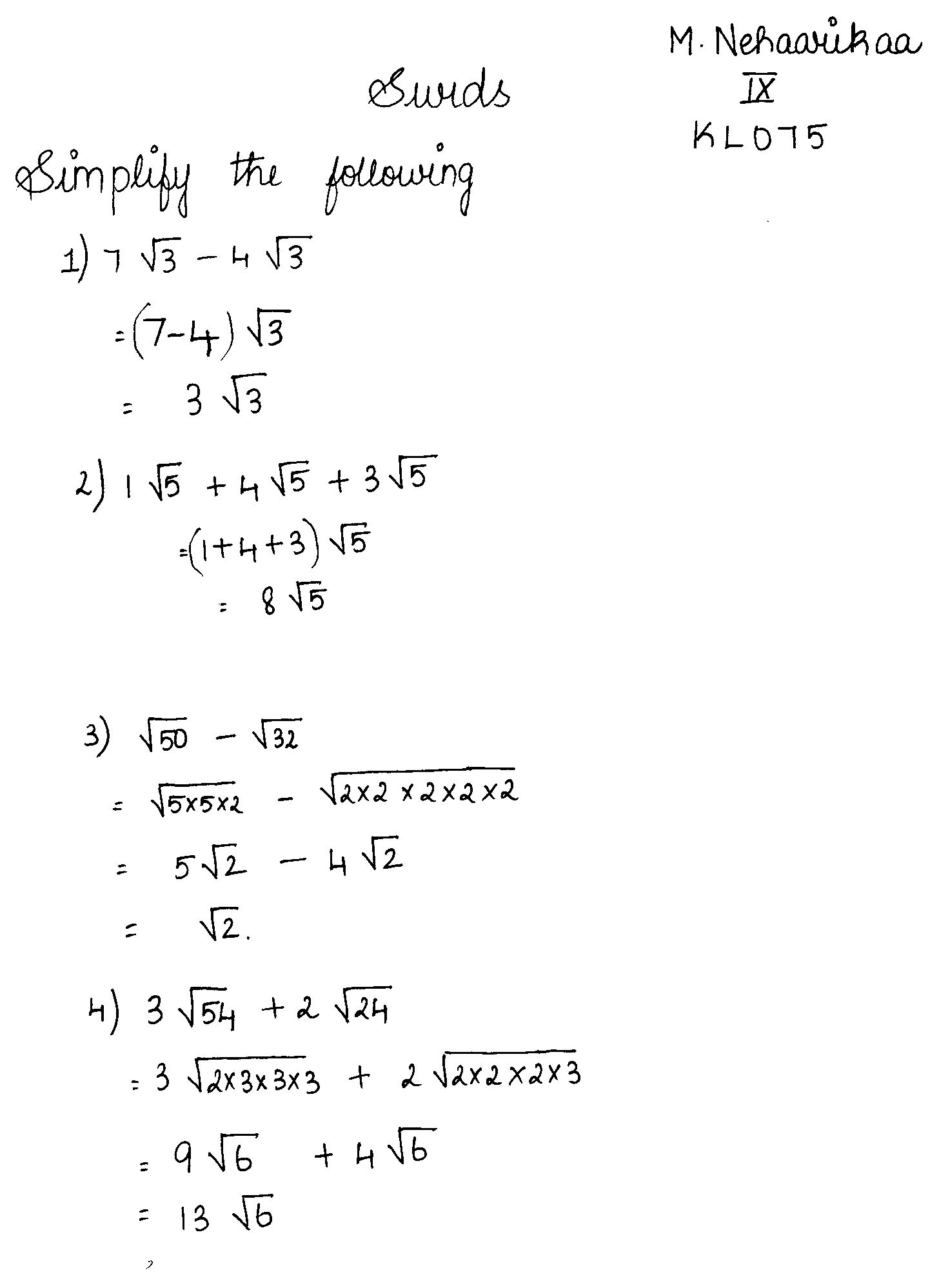 Practice problems in surds surds pinterest arithmetic math practice problems in surds robcynllc Choice Image