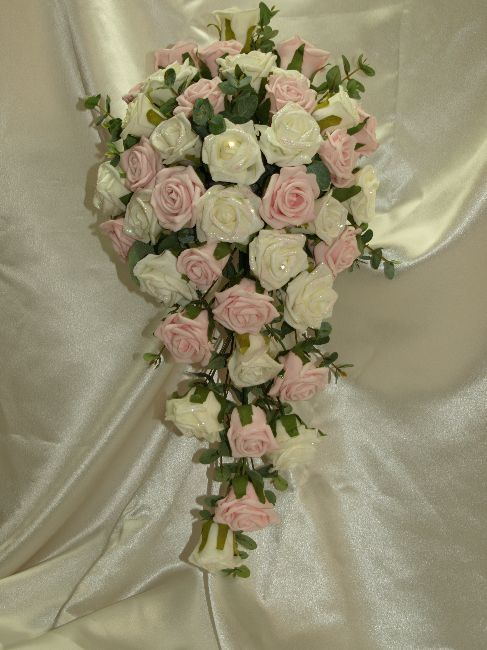 Ivory Roses Pink Peonies Teardrop Bouquet | Wedding Ideas ...