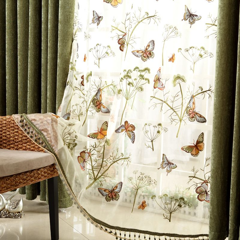 Wonderful Butterfly Embroidered Sheer Curtains