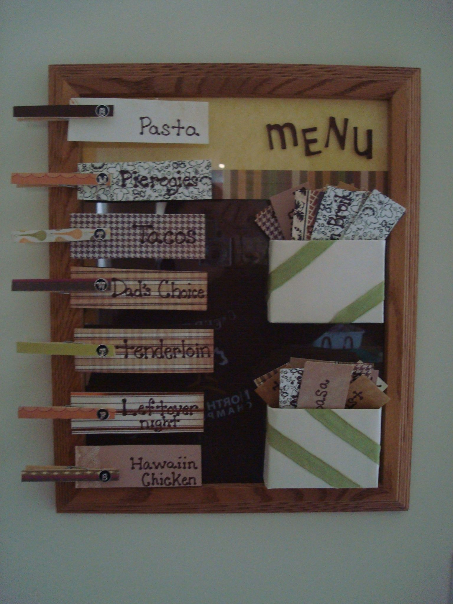 How to put scrapbook back together - Menu Board Decorated Scrapbook Paper Put Inside Frame Took Crayon Box Opened