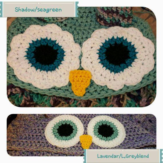 Crocheted Hooded Owl Blanket, Child Hooded Owl Blanket, Adult Hooded ...