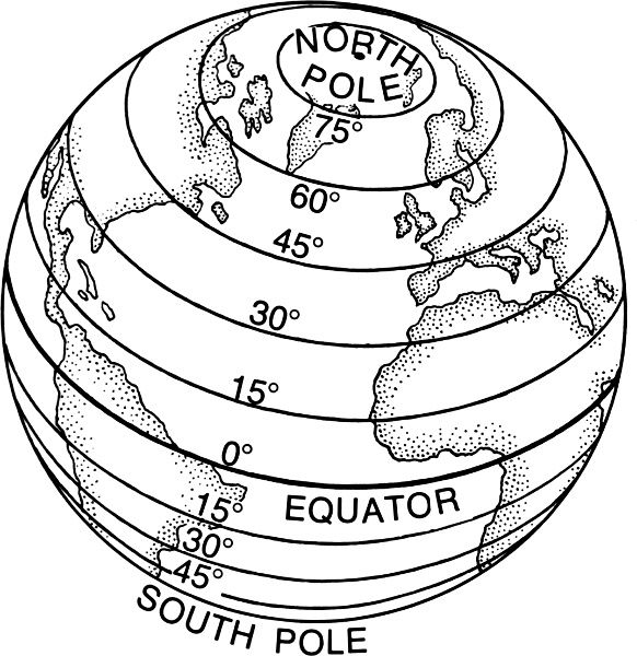 Latitude Lines World Map Coloring Page Sketch Coloring