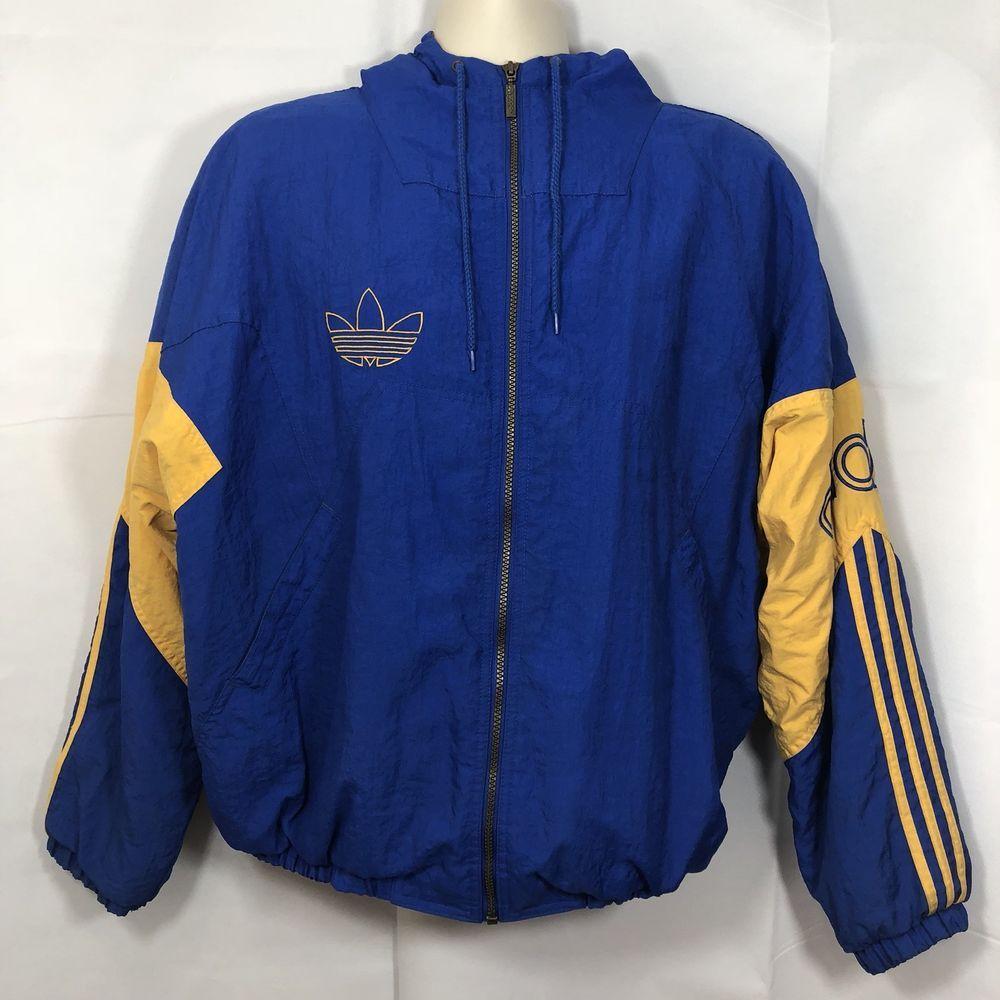 Adidas Vintage Jacket Coat Men S Size Large Blue Yellow Hooded Insulated Track Ebay Adidas Vintage Jacket Vintage Jacket Vintage Adidas