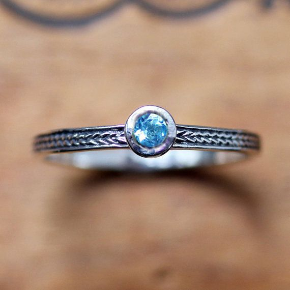 Swiss blue topaz ring December birthstone ring  by metalicious