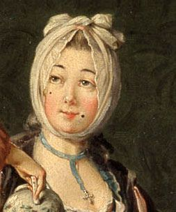 """The Lady's Face  Detail of 1775 painting by Pehr Hilleström""  Silk ribbon necklace with cross pendant."