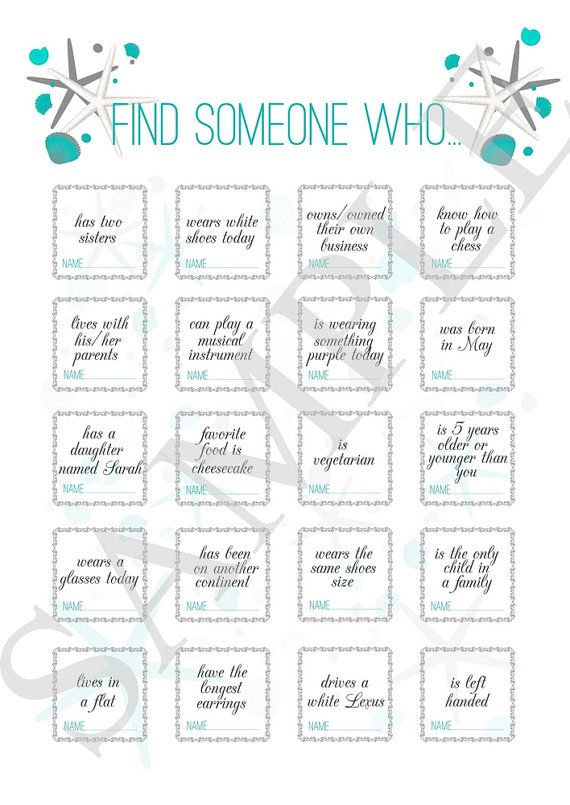 Wedding Find Someone Who Icebreaker For Guests Reception Beach Printable Bingo
