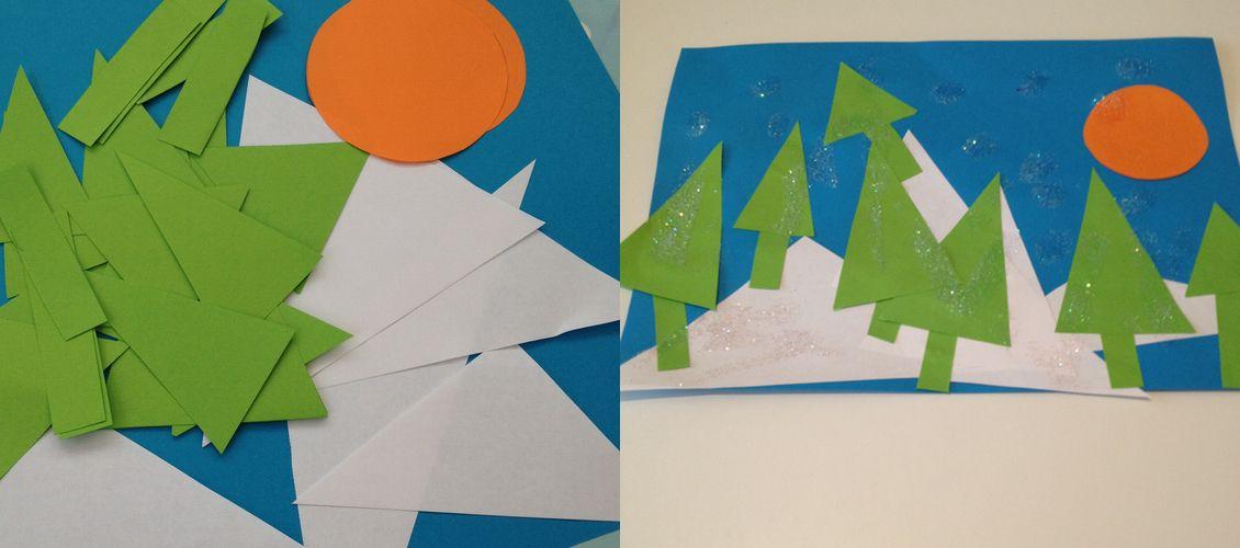 Geometric Snowscape Pictures Great Art Activity For Pre Schoolers