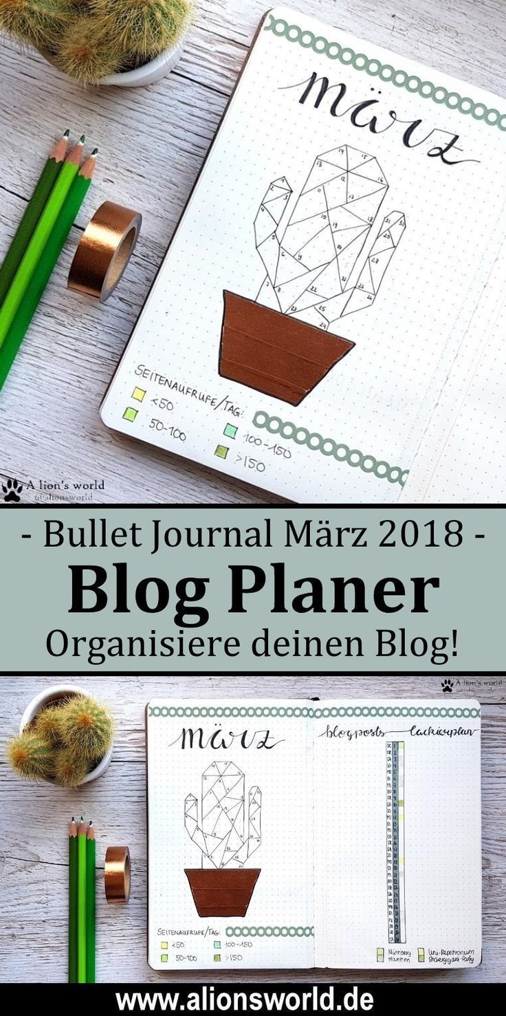 Bullet Journal   März – Mein kleiner grüner Kaktus