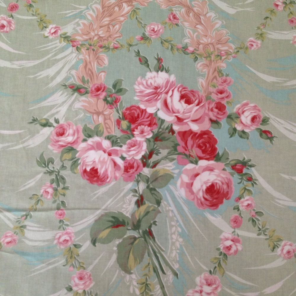 vintage sanderson english floral print fabric   floral print