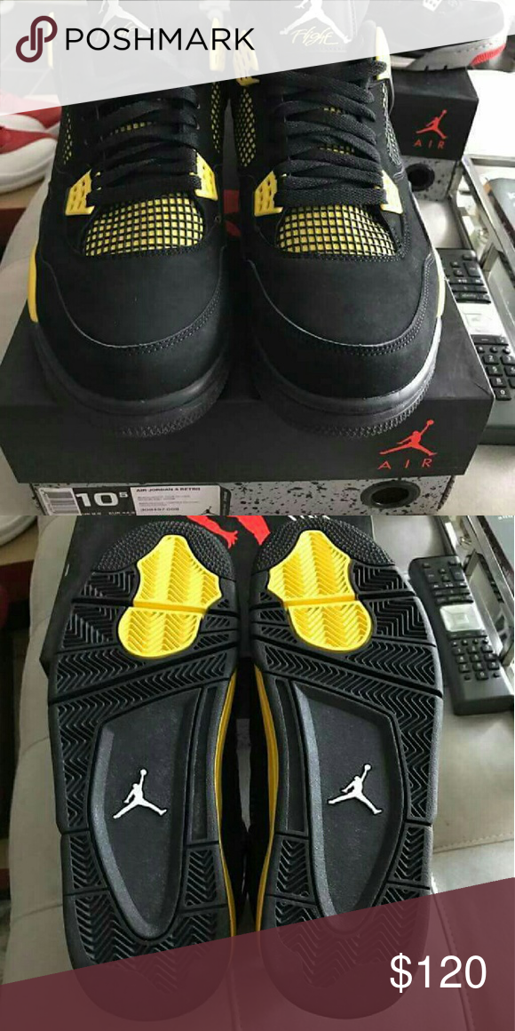 3f88c70969 Retro Jordans thunder 4s SIZE 10 Comes with box Condition 9.9 10 Fresh and  brand new still VNDS Jordans Shoes Sneakers