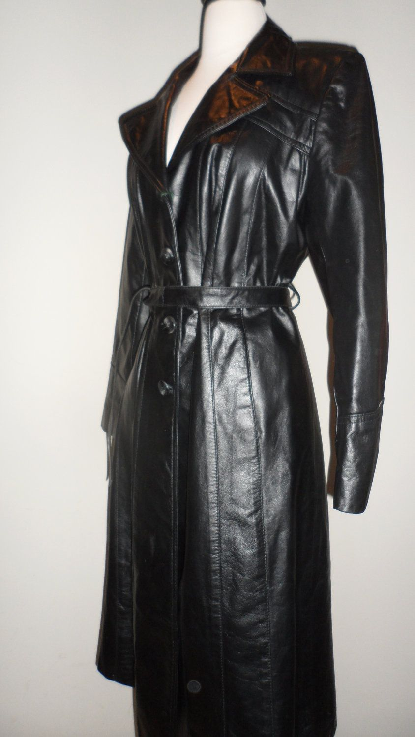 e868f656619a sexy cat woman appeal black leather trench coat vintage with great detail  back medium to large