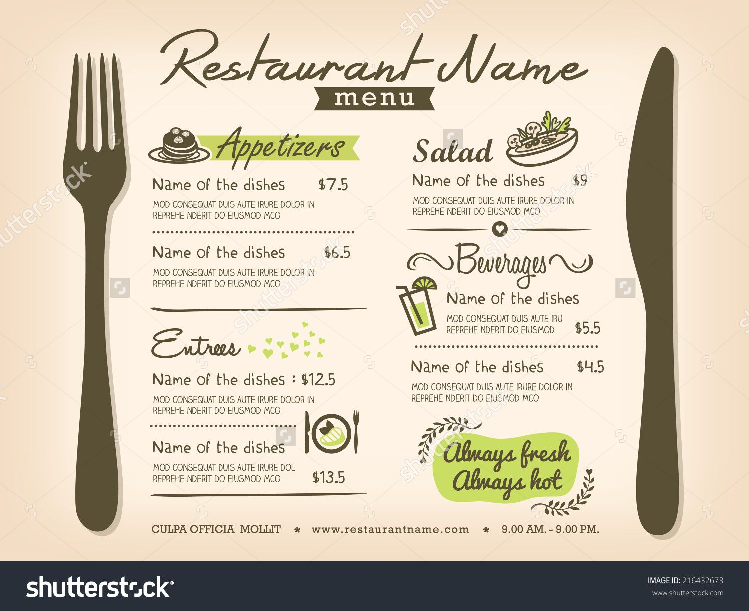 Free Downloadable Restaurant Menu Templates template of ...