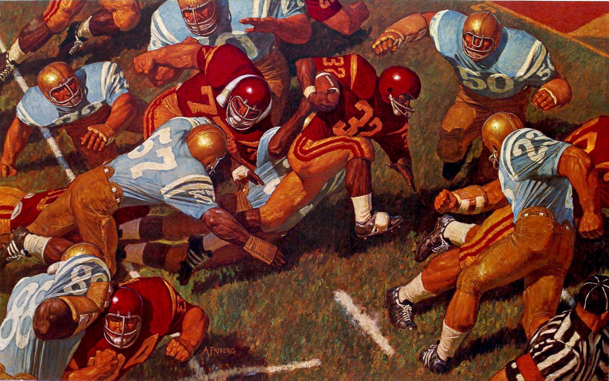 """1969 """"History of College Football"""" painting by Arnold Friberg 22"""" x 30"""""""
