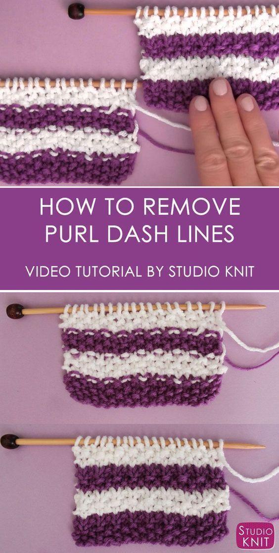 Comment supprimer Purl Dash Lines en tricot avec Studio Knit   – Clever yarny techniques