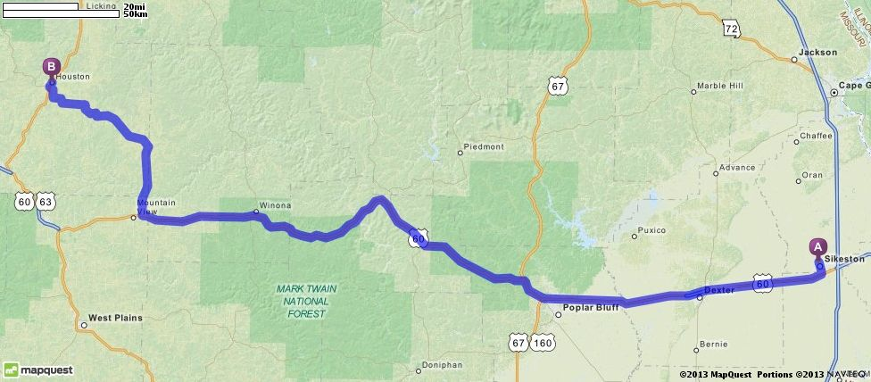 Driving Directions From Sikeston Missouri 63801 To Houston