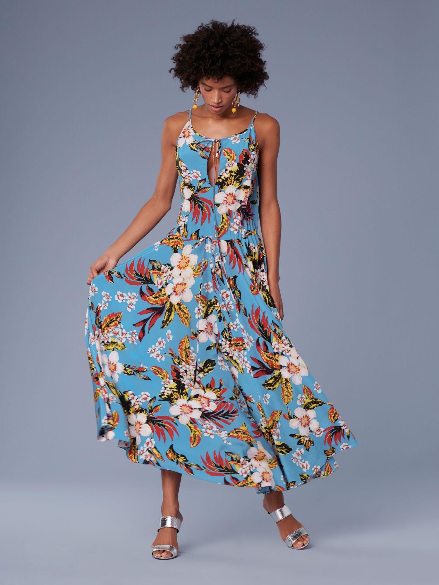 13cc4def177 Diane Von Furstenberg Dvf Key Hole Waist Tie Maxi Dress - Walden Black 14