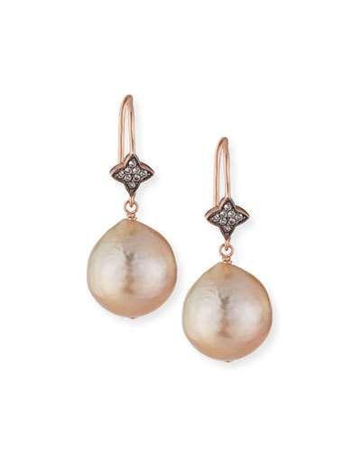 a5565323f791d0 PAFJS Margo Morrison Rose Golden Baroque Pearl & White Sapphire Drop  Earrings