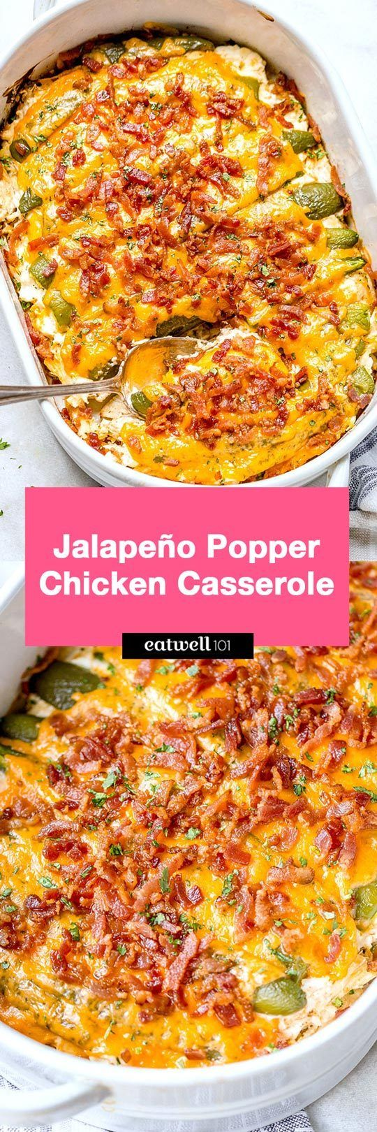 Jalapeño popper chicken casserole – So quick and easy. Everyone will love this delicious chicken