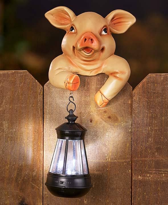 Solar Lights To Hang On Fence: Solar Light Lantern Animal Fence Post Friend Garden Yard