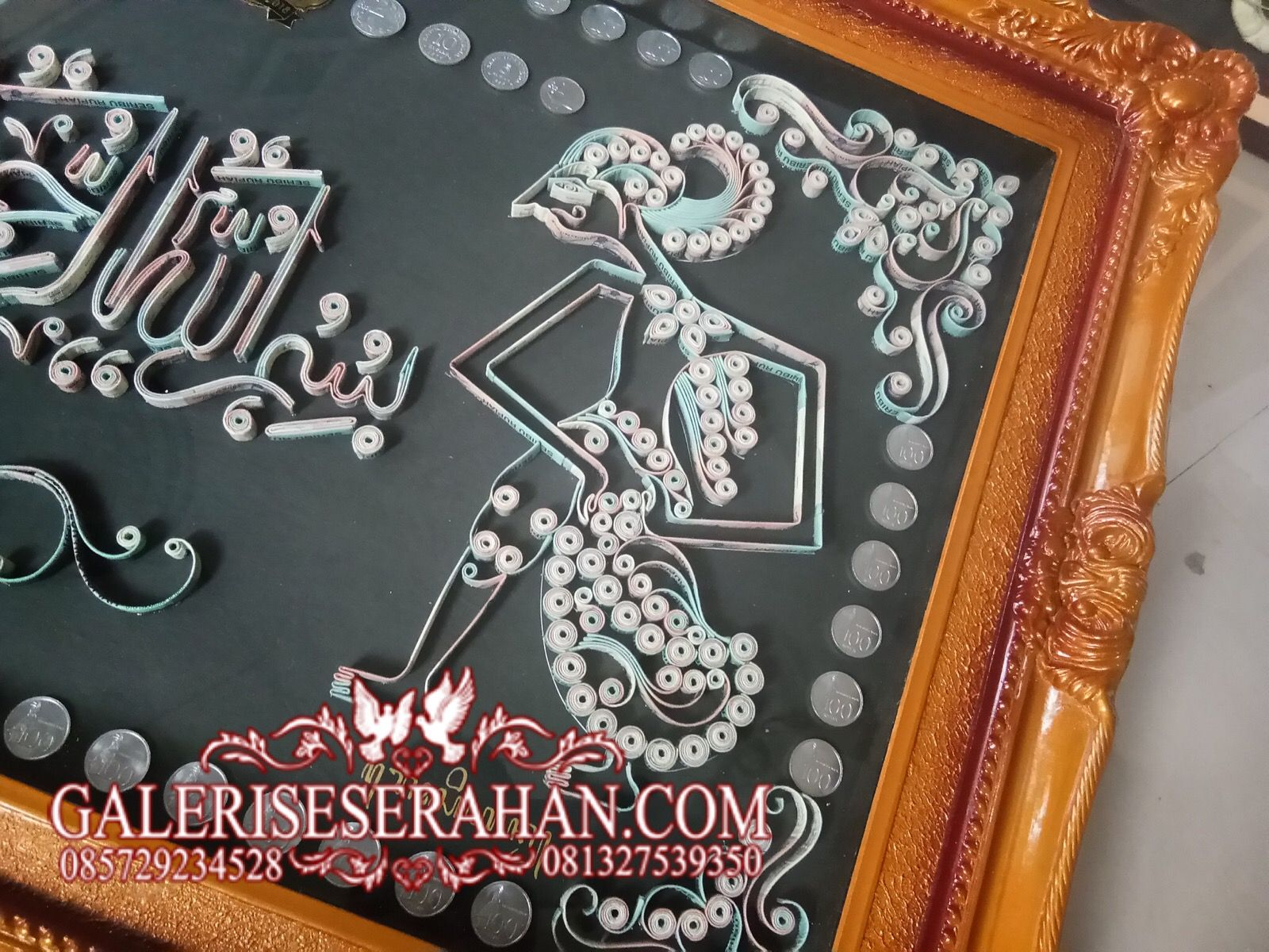 Mahar uang kaligrafi bismillah & wayang kamajaya kamaratih