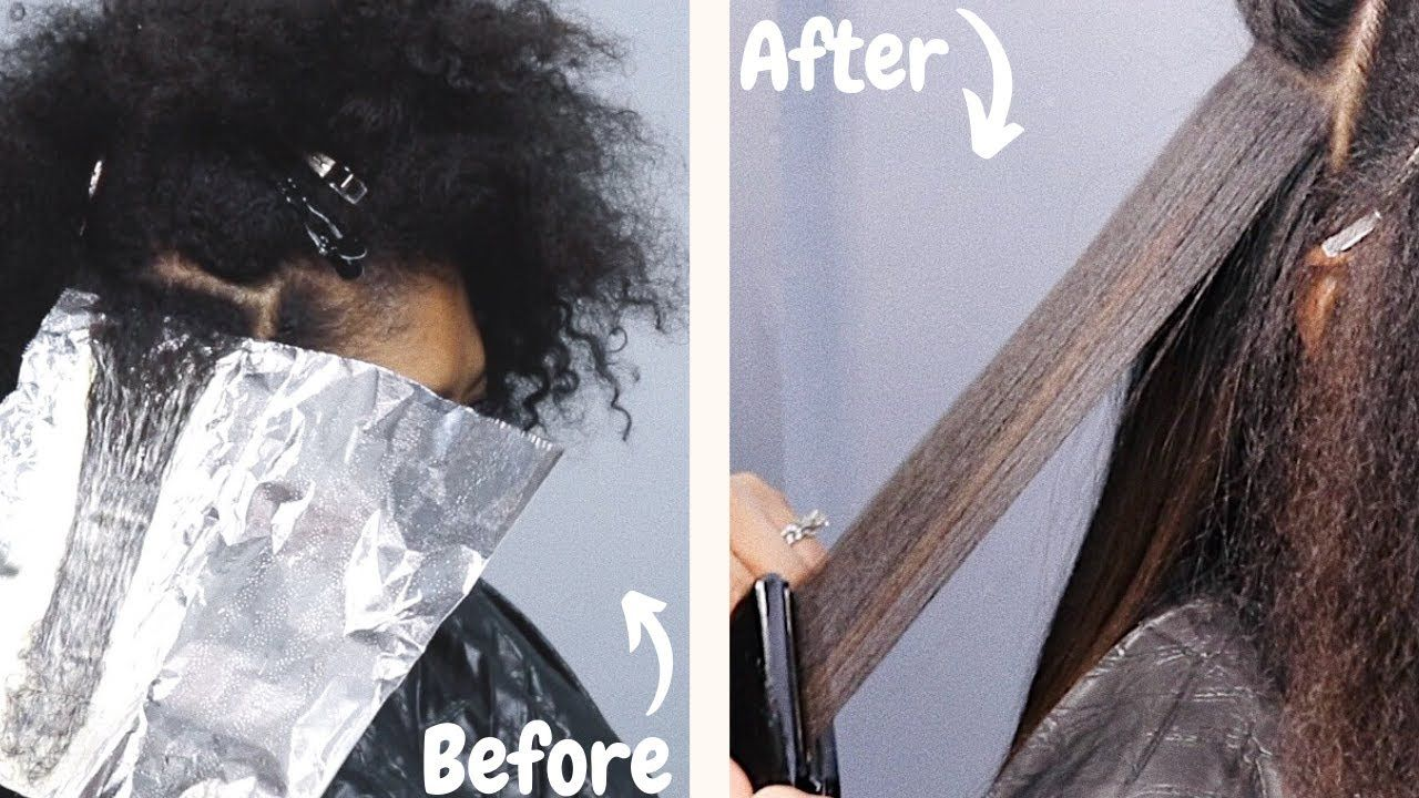 Come To The Salon With Me Balayage Highlights Without Bleach Silk Press On Type4 Naturalhair Watch Me G In 2020 Balayage Natural Hair Styles Dyed Natural Hair