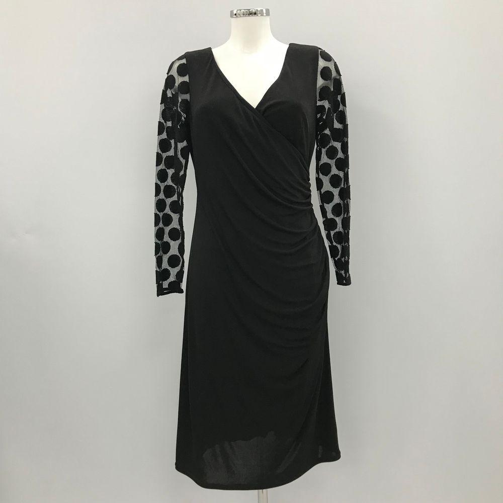 f6b7bf62752 MICHAELA LOUISA Black Dress Wrap Ruched Sheer Party Polka Dot Women Size 14  4026 #fashion #clothing #shoes #accessories #womensclothing #dresses (ebay  link)