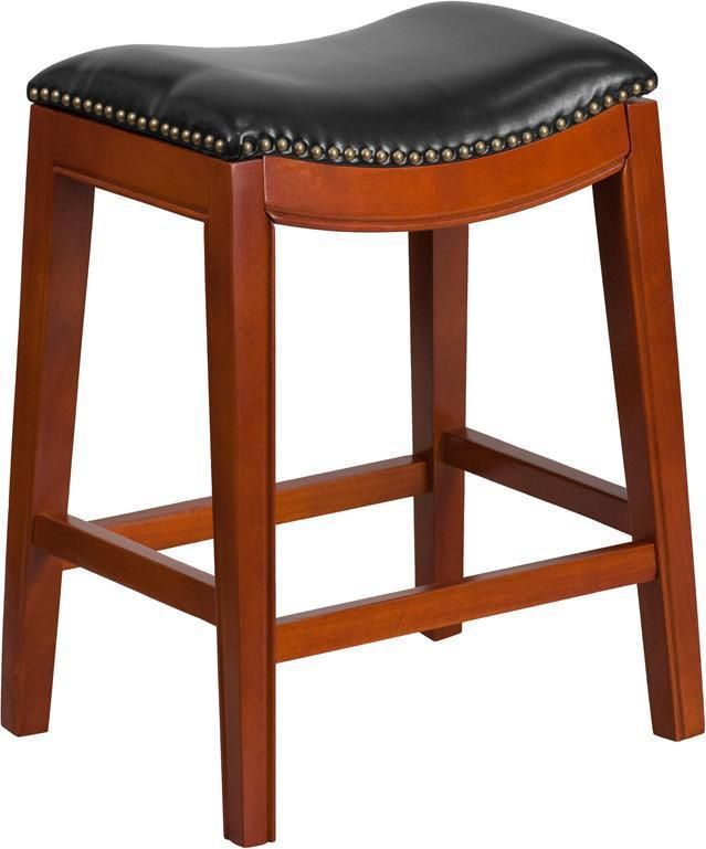 26 High Backless Light Cherry Wood Counter Height Stool With
