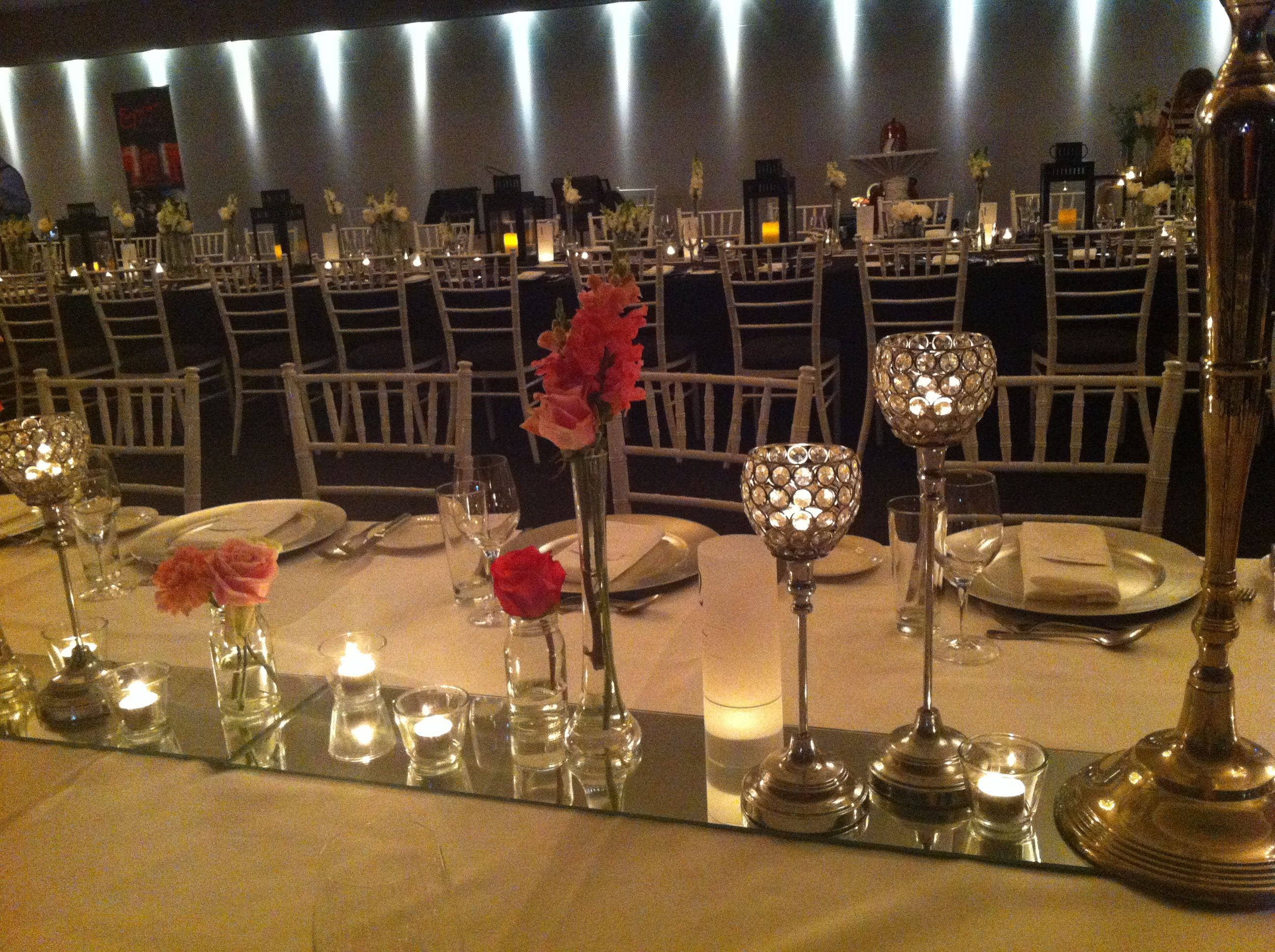 Mirror Tiles For Table Decorations Custom Table Deco Ideas Mirror Tiles Crystal Globes Tea Light Candles Design Inspiration