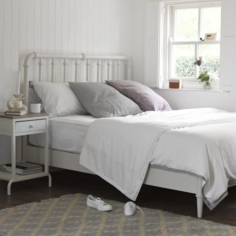 Solid Wood White Savon Bedside Table White Metal Bed Frame