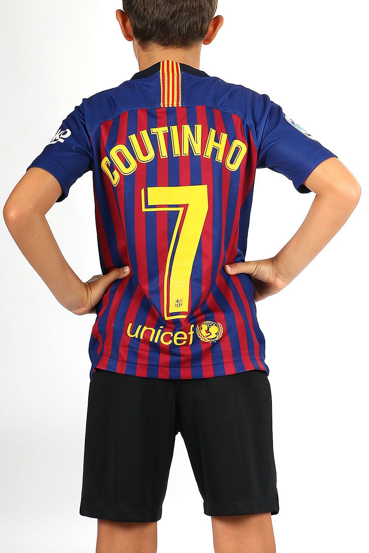 Camiseta infantil primera equipación  Coutinho  FCbarcelona 2018 2019   azulgrana 5fb5400a27188
