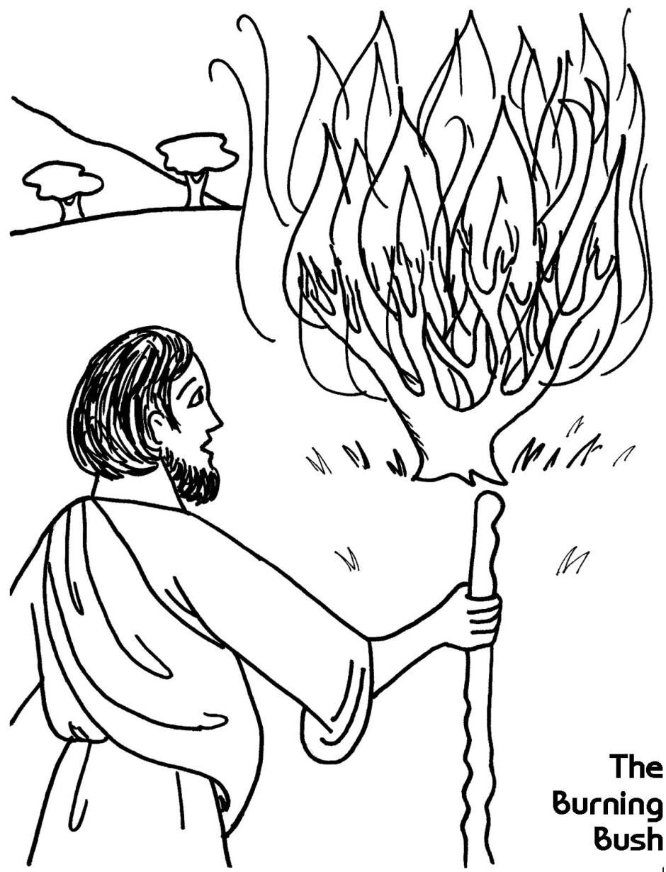 Coloring pages moses parts the red sea - Moses And The Burning Bush Exodus 3 4