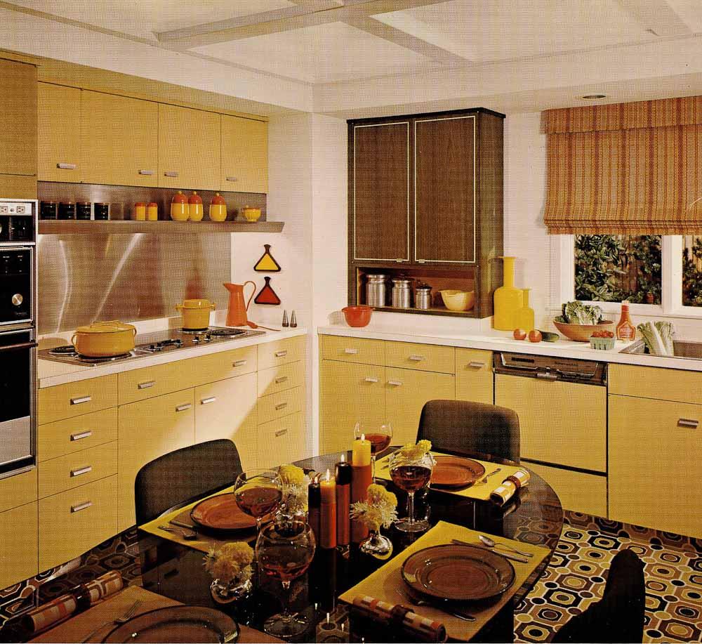 1970s kitchen design -- one harvest gold kitchen decorated in 6 distinct '70s styles