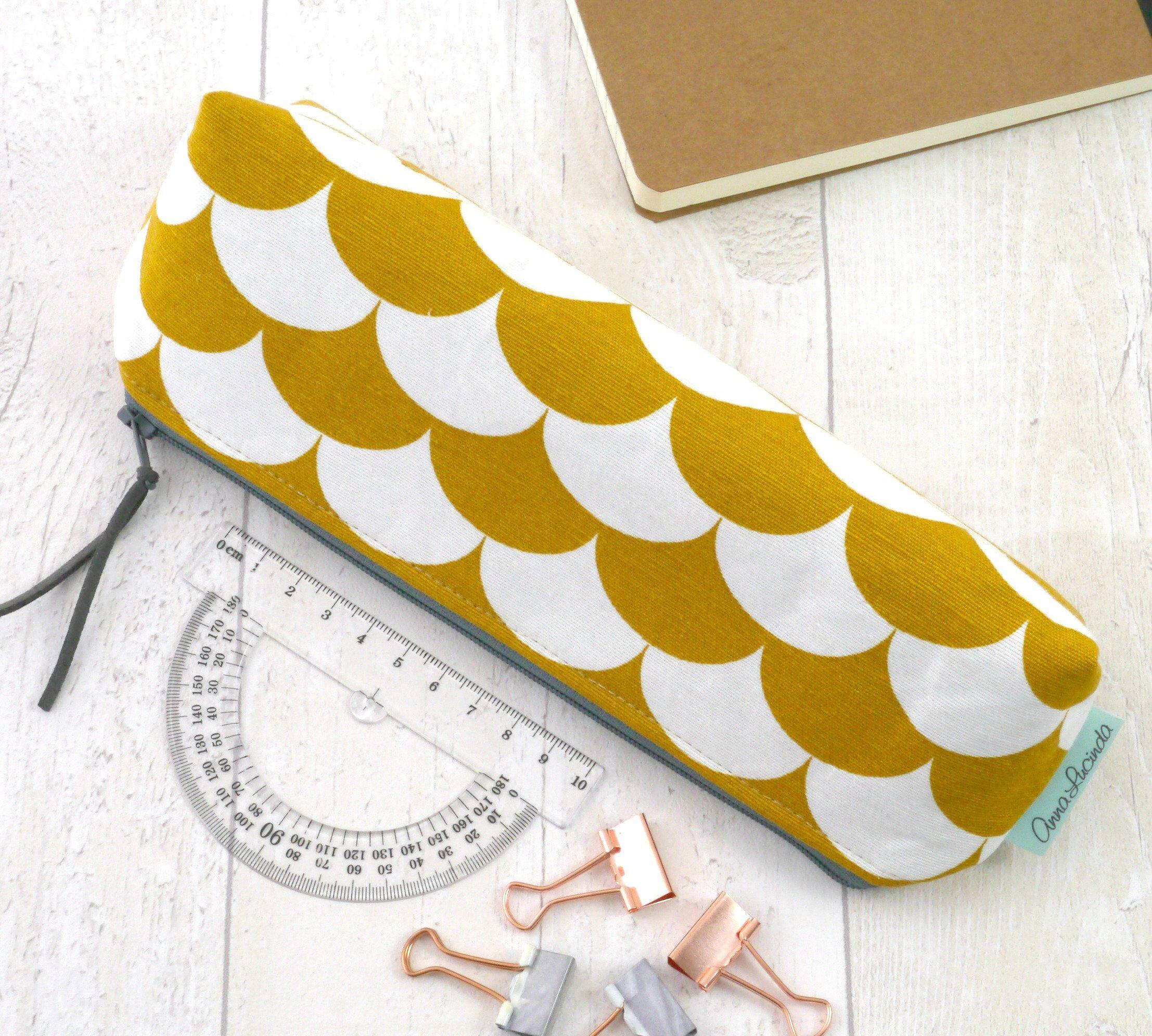 Mustard makeup bag Yellow geometric pencil case for women